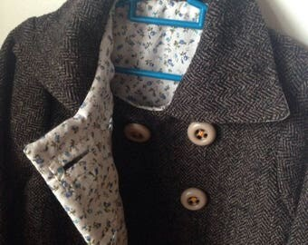 coat style vintage herringbone wool and liberty - single model