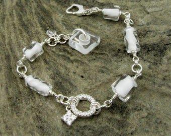 David Christensen twisted solid white hand blown glass bracelet