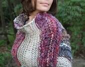 Bohemian Poncho, Shoulder Wrap, Scarf, Asymetrical Cape, Shrug, Gypsy Cowl, Hand Knit Summer Fall Shawl, Boho, Festival Wear, Ltd Edition