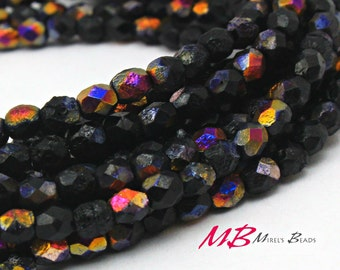 4mm 50 pcs Black Fire Etched Fire Polished Beads, Small Faceted Czech Glass