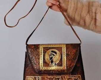 Vintage Embossed Egyptian Leather Nefertiti Shoulder Bag