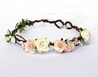 Blush Flower Crown, Wedding Floral Crown, Pink Flower Crown, Bridal Headdress, Boho wedding flower crown, flower girl flower crown,