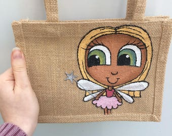 Small Painted Fairy Jute bag, for kids, Blonde fairy, green eyes, pink tutu, cute