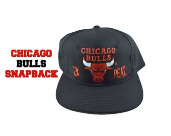 90s CHICAGO BULLS 3 Peat Snapback Hat Black Red Bull Green Bill Michael Jordan 1990s 90s Party Embroidered Embroidery NBA Basketball Sports