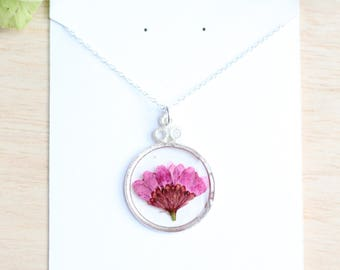 Plum Chrysanthemum Necklace