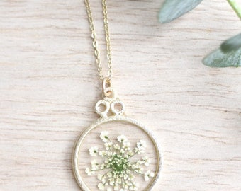 White Queen Anne's Lace Necklace