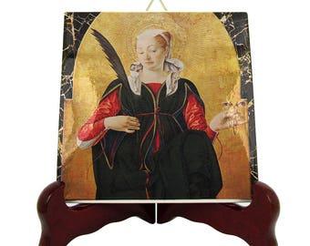 Saint Lucy of Syracuse - St Lucy icon on ceramic tile - Saint Lucia - St Lucy - italian saints serie - Santa Lucia - Saint Lucy icon