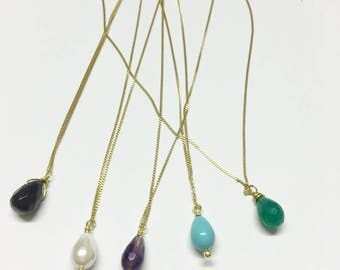 Tiny Gemstone Drop Necklace Fine Gold Chain Simple Delicate Necklace