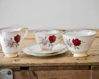 Teacup and Saucer Tea Set, Bone china Cup and Saucer, Roses to Remember by Royal Stafford Afternoon Tea, Creamer, Sugar Bowl, Valentine Gift