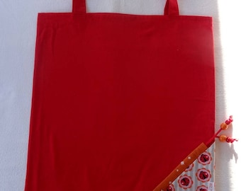 Tote Bag / eco-friendly tote bag / pouch - red foldable bag and ladybugs