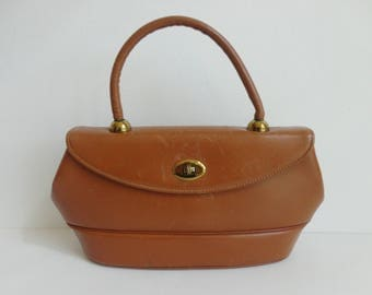 50s Vintage Top Handle Leather Bag // Brown