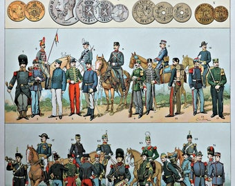 Belgium escutcheon, flags, coins and uniforms. Old book plate, 1910. Antique  illustration. 107 years lithograph. 9'4 x  12'5 inches.