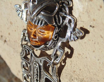 Mexican Sterling Silver Large Aztec Eagle Warrior with Carved Tigers Eye Stone Face Pendant - 56 Grams