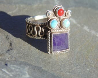 Matl - Signed Vintage Matilde Poulat Mexican Sterling Silver and Amethyst Ring - Size 8.5