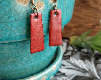 Red Shimmer Enameled Valentines Day Pendant Earrings
