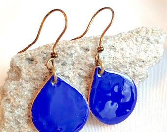 Deep Rich Blue Teardrop Pendant Earrings
