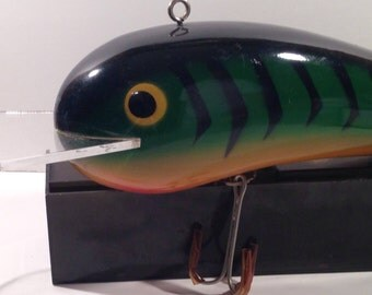 Giant Firetiger Fishing Lure • Realistic Details • Polyresin with 2 Giant Treble Hooks • Ready to Hang • Crafts by the Sea