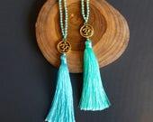 Tassel Necklace OM Necklace Yoga Necklace Boho Jewellery Long Necklace Beaded Necklace Yoga Jewellery
