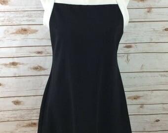 Vintage 90s All That Jazz Large Dress Black White Sleeveless Above Knee Flair