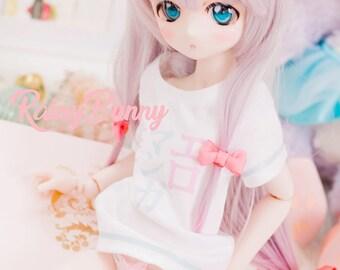 SOLD) Sarigi izumi @ Eromangasensei  Custom Doll Set DDH01 with 22mm eyes t-shirt wig and 2 removable  ribbon accessory  6 items