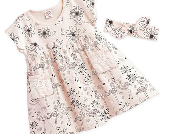 SUMMER SPECIAL! Baby Girl Summer Dress, Baby Girl Floral Dress, Toddler Girl Outfit, Pink Flamingo Pocket Dress Headband Tesa DH73PDSFL0000