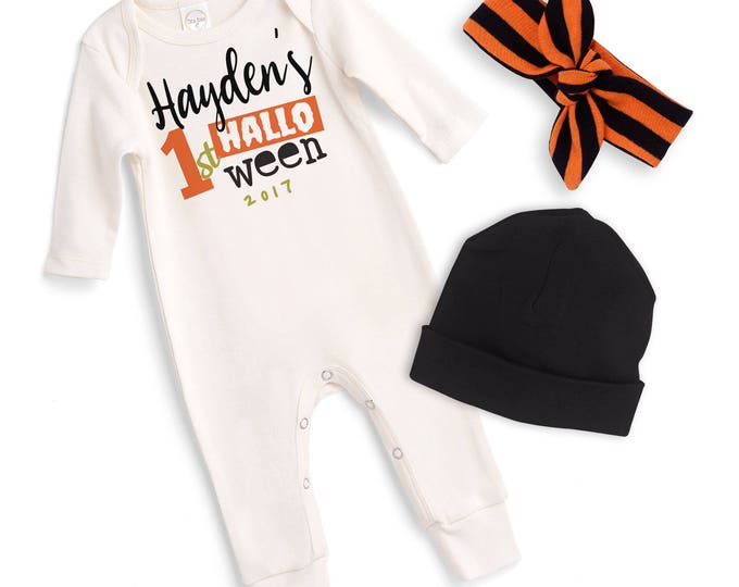 Personalized Newborn Halloween Romper Black Orange, Baby Boy Girl Custom Halloween Bodysuit, Baby Halloween Bodysuit Tesababe