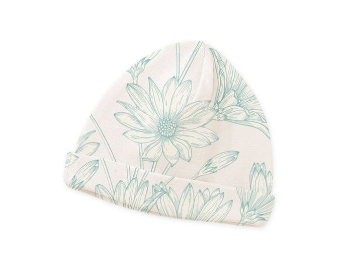 Newborn Baby Hat, Baby Hat for Girls, Newborn Hat, Baby Girl Beanie, Infant Girl Cap, Baby Flower Hat Turquoise Green Tesababe CP630DP000000