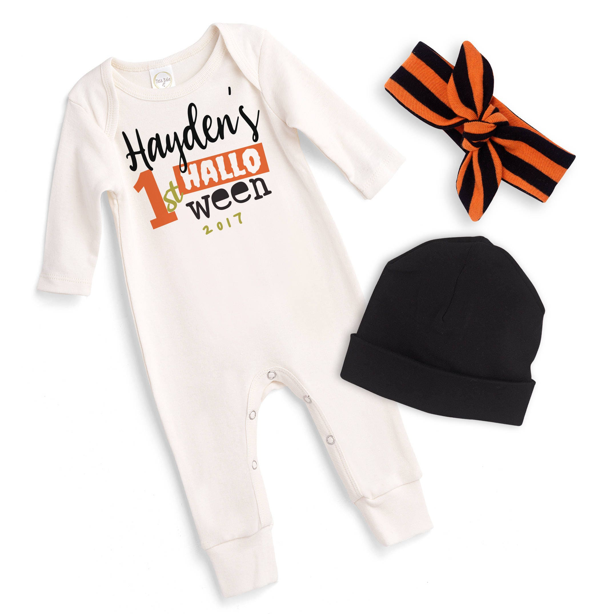15f5f9eecda Personalized Newborn Halloween Romper Black Orange