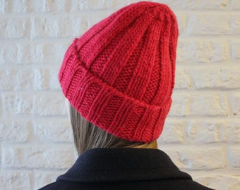 Red Wool hat, Slouchy beanie, Woolen cap, Knit hat with brim, Chunky knit hat, Ribbed hat, Warm hat