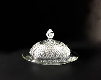 Oval Covered Butter Dish...Diamond Point Clear Butter Dish...Indiana Glass Covered Butter Dish