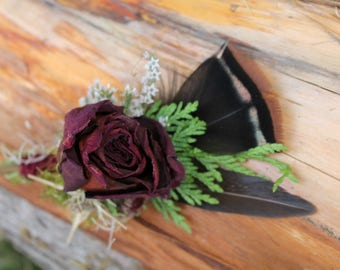 custom boutonniere, feather boutonniere, burgundy boutonniere, dried rose boutonniere, wine boutonniere, woodland boutonniere, rustic groom