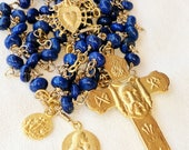 Rosary - Holy Face Lapis, Mary Magdalene & Saintes-Maries - 18K Gold Vermeil