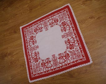 Austrian folk textil white red traycloth jacquard table runner Floral Made in Austria Serape napkin flowery dresser scarf table top vintage