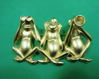Wise monkeys brooch - hear no evil see no evil speak no evil - the three monkeys - vintage jewelry -