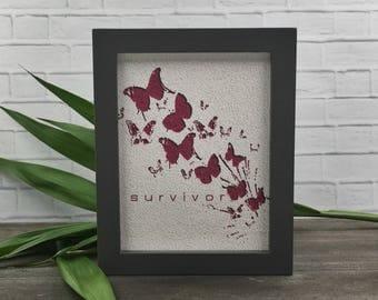 Framed cancer art | cancer survivor gift | think pink quote | cancer hope | breast cancer gift | survivor art | cancer patient gift