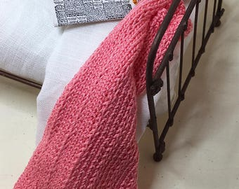Shabby Chic Handmade Miniature Dollhouse Small Bed Throws - Hand Knitted  - Coral