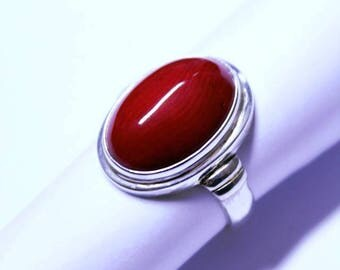 Red Coral in a Handmade Sterling Silver (925) Ring