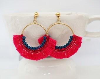 Pink Beaded Tassel Hoop Earrings