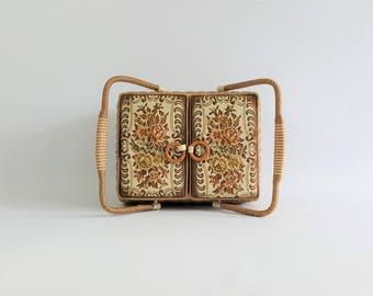 Vintage tapestry sewing basket, woven wicker basket with handles, dressmaker's kit, stitchery sewing needlework storage, large picnic basket
