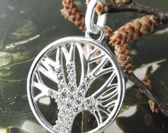 Tree of Life, pendant 15mm, with zirconias silver 925