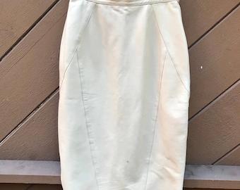 Vintage 80s High Waist Leather Midi Pencil Skirt