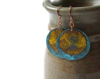 Colorful Statement Earrings, Patina Earrings, Enameled Earrings, Etched Earrings, Yellow Earrings, Turquoise Earrings, Large Circle Earrings