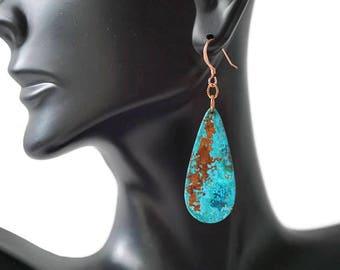 Turquoise Teardrop Earrings - Blue patina - boho earrings - lightweight earrings - dangle earrings - drop earrings - copper jewelry