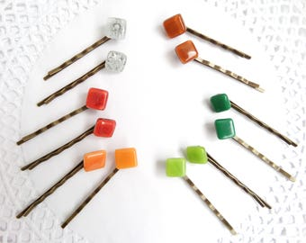 Fused Glass Hair Pins Set of 2 Hair Bling Bobby Pin Set Womens Gift Colorful Hair Pins Unique Hairpins Square Hair Stick Glass Bobby Pins