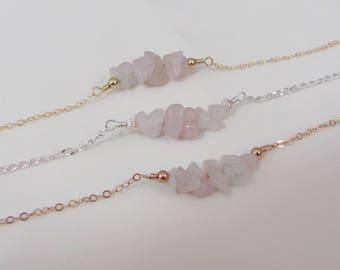 Raw Stone Rose Quartz Bracelet, Pink Crystal Bracelet, Beaded Bar Bracelet, Rough Stone Bracelet, Sterling Silver, Rose Gold, Gold Filled