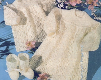 Baby Knitting Pattern Angel Top, Bootees & Dress 3 ply  pdf