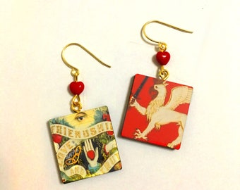 Tarot, Good Luck, Love and Prosperity playing cards, Beaded earrings, Funky Art, Vintage Flair, Freaky, Beaded Gold Jewelry, Red Hearts