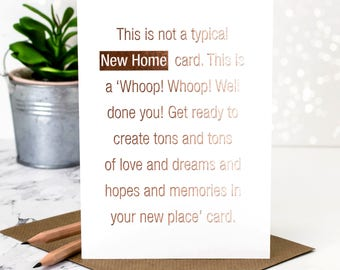 New Home Card; Rose Gold Foil New Home Card; Rose Gold Foil; Moving House Card; Housewarming Card; New Home Congrats; Card About Home; GC382