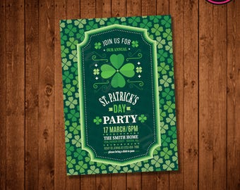 Modern Ticket & Clovers St. Patrick's Day Party Invitation (Printable)