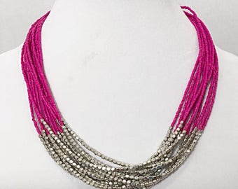 Dark Pink and Silver Necklace / Hot Pink Beaded Multi Strand Bib Necklace.